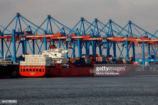 A container ship is seen at the 'Altenwerder' Terminal at Hamburg Port on April 11 2018 in Hamburg Germany Hamburg Port is Germany's biggest port and...