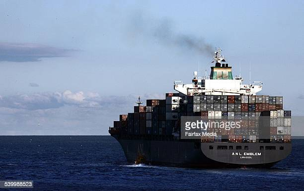 A container ship leaves Port Botany Sydney 20 June 2005 AFR Picture by ROB HOMER