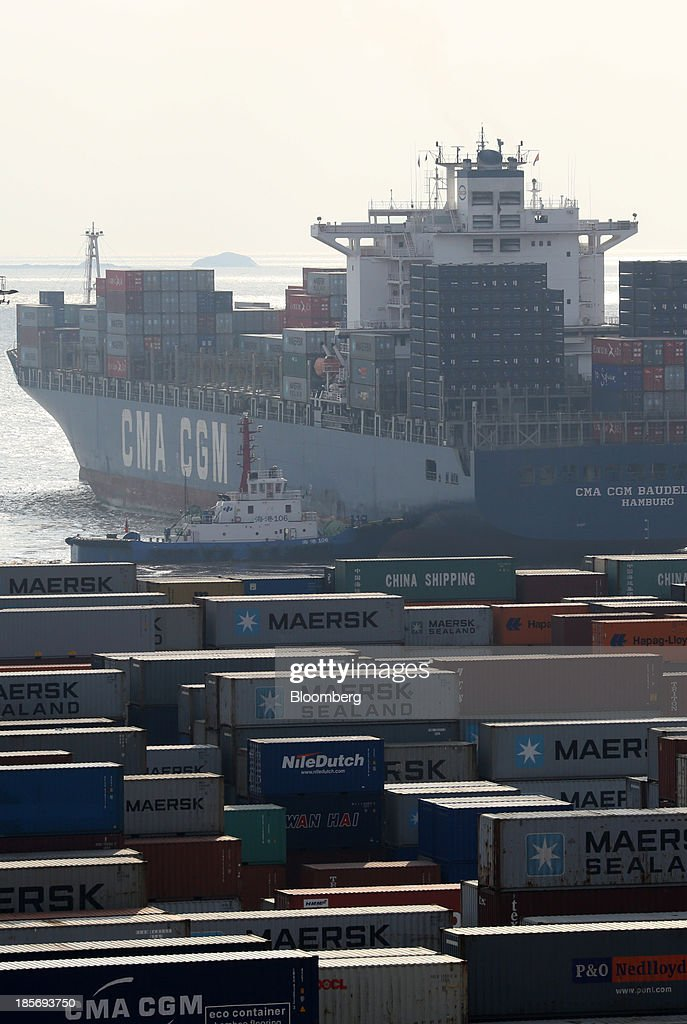 SA container ship leaves the Yangshan Deep Water Port, part of China (Shanghai) Pilot Free Trade Zone's Yangshan free trade port area, in Shanghai, China, on Wednesday, Oct. 23, 2013. The area is a testing ground for free-market policies that Premier Li Keqiang has signaled he may later implement more broadly in the world's second-largest economy. Photographer: Tomohiro Ohsumi/Bloomberg via Getty Images