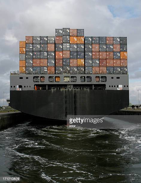 Container ship leaving