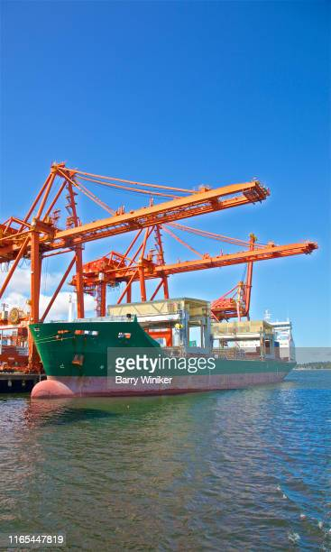 Container ship loading at DP World, (Centerm), Vancouver, British Columbia