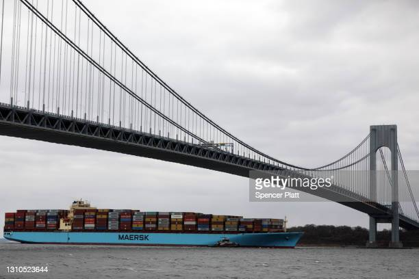 Container ship moves into New York Harbor on April 02, 2021 in New York City. Following the six-day blockage of the Suez Canal by container ship, the...