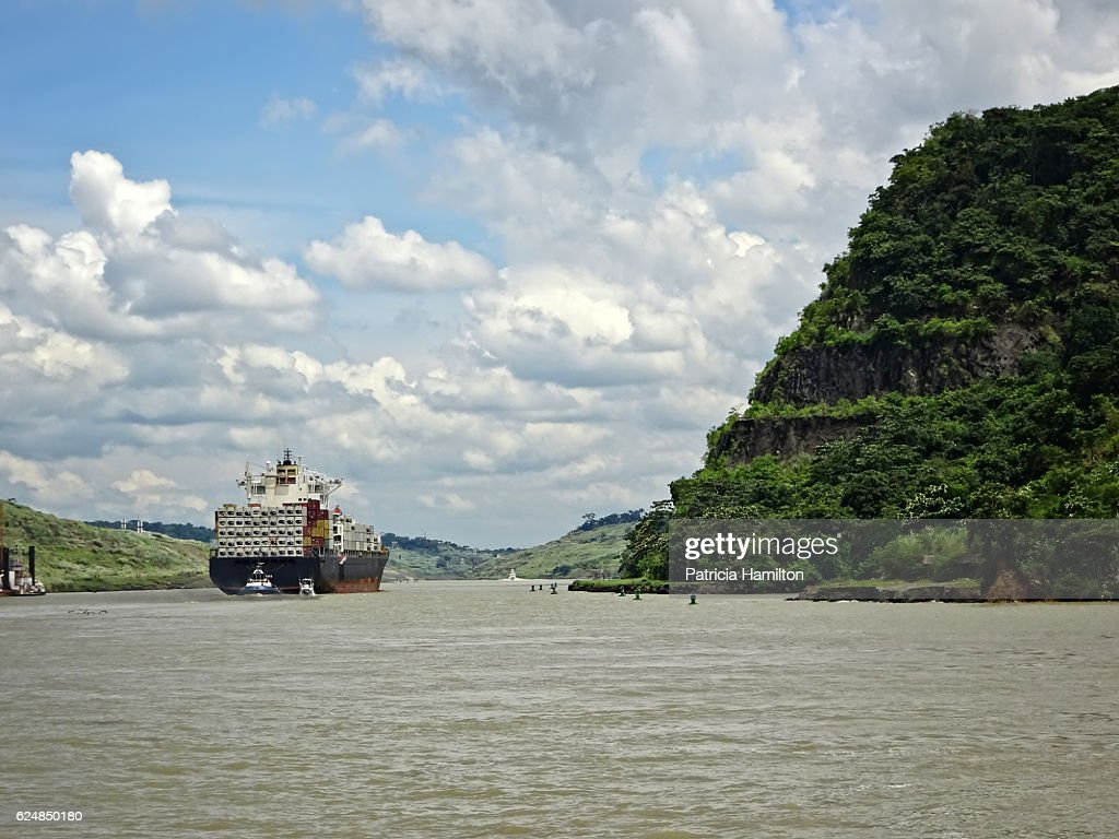 Container ship navigating the Panama Canal : Stock Photo