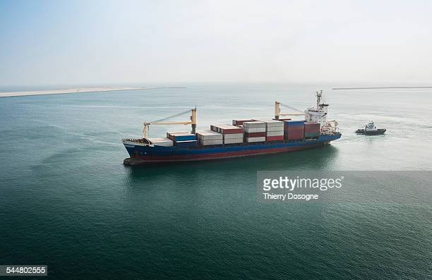 container ship on suez canal. egypt - suez canal stock pictures, royalty-free photos & images