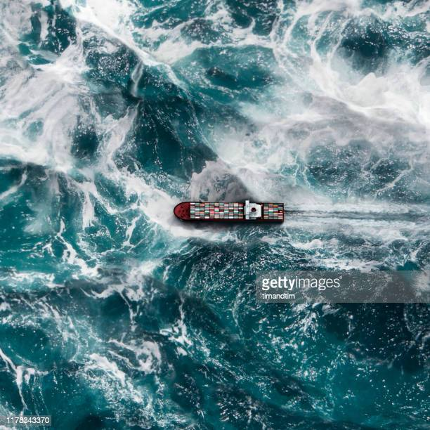 container ship on the sea - overhead view stock pictures, royalty-free photos & images