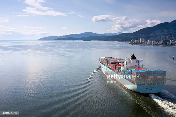 container ship - english bay stock photos and pictures