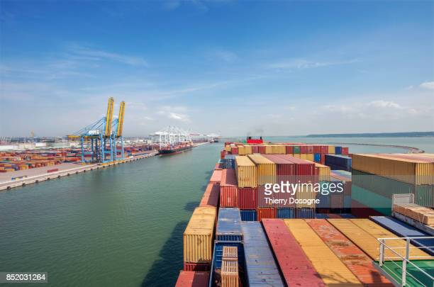 container ship - docks stock pictures, royalty-free photos & images