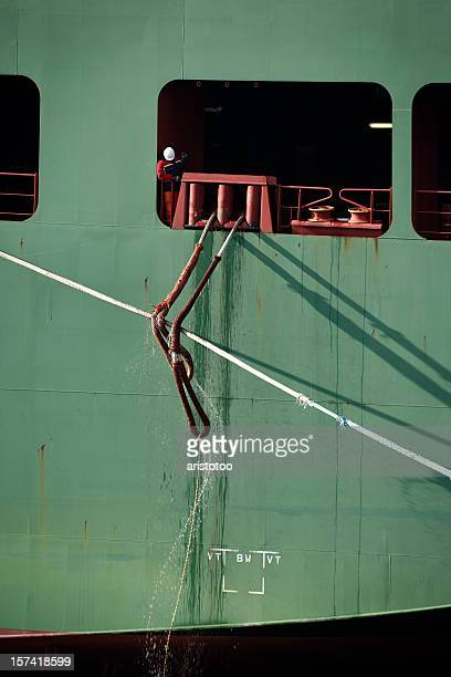 Container Ship Pulling Ropes In