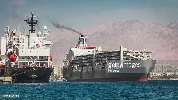 Container ship sailing in Red Sea