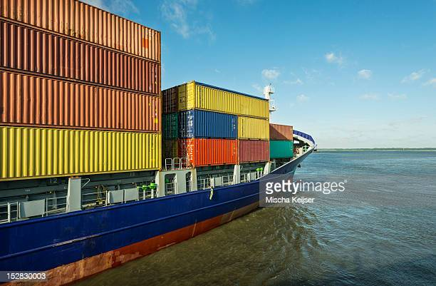 Container ship sailing into harbor