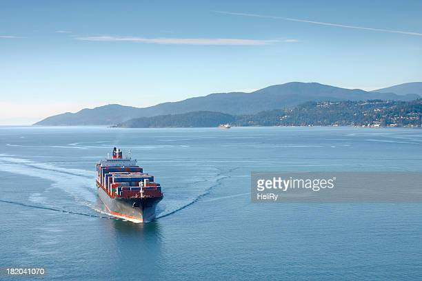 A container ship sailing on the sea