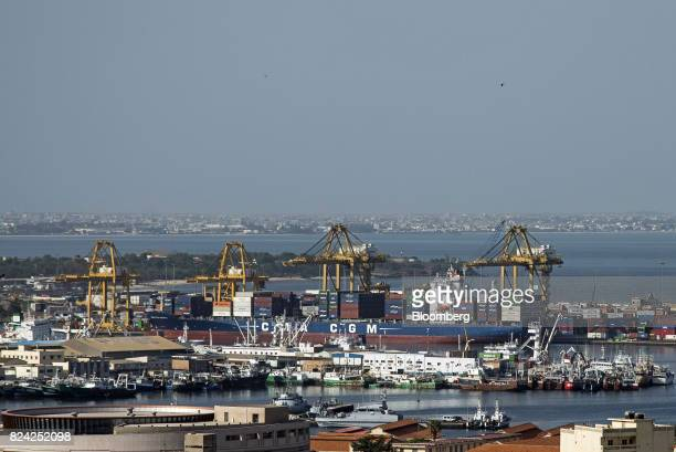 SA container ship sits among other vessels at the Port of Dakar in Dakar Senegal on Friday July 28 2017 Senegalesevoters will elect a new parliament...