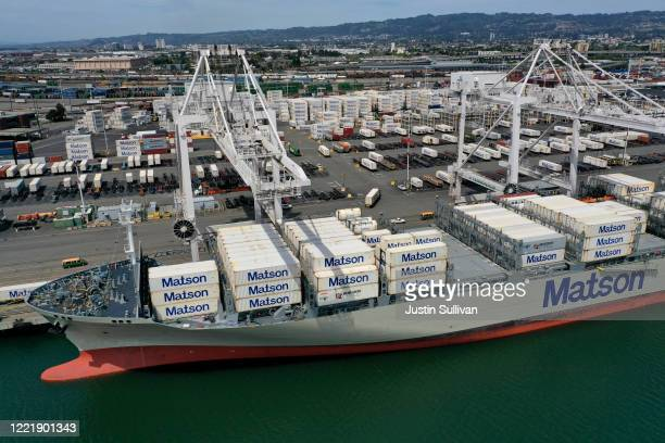 Container ship sits at the Port of Oakland on April 29, 2020 in Oakland, California. The Port of Oakland continues to see a drop in shipping traffic...