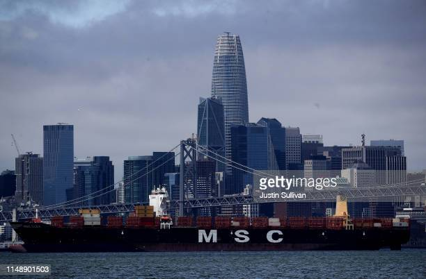 A container ship sits in the San Francisco Bay on May 13 2019 in Oakland California China retaliated to US President Donald Trump's 25 percent...