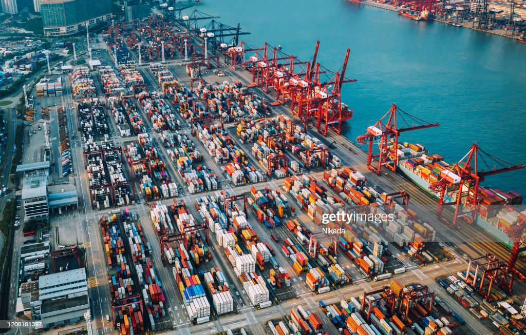 container ship terminal in China : Stock Photo
