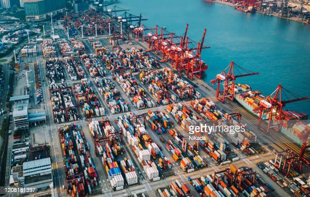 container ship terminal in china - trade war stock pictures, royalty-free photos & images