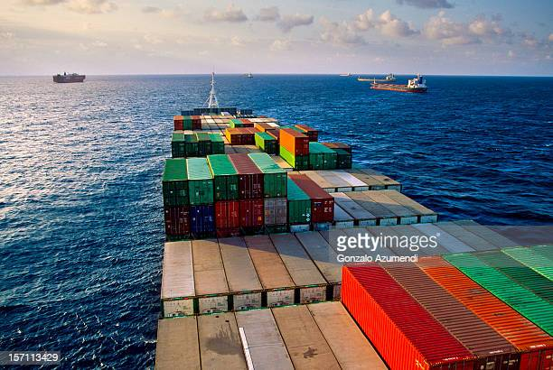 Container ship transporting goods.