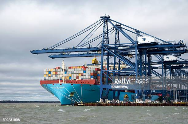 Container ship unloading at Felixstowe