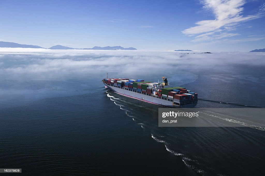 Container Ship, Wide Angle : Stock Photo