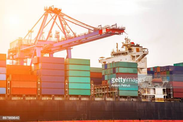 container ship with working crane in commercial dock at sunset - jordanian workforce stock pictures, royalty-free photos & images