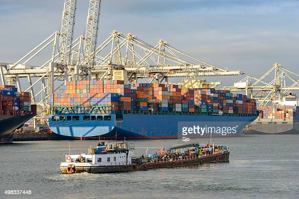 Container ships and bunker fuel barge in port