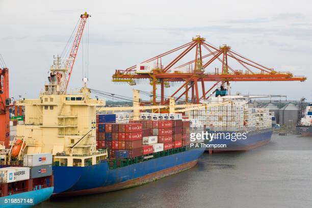 Container ships at the port of Guayaquil, Ecuador