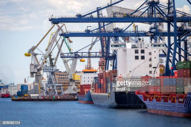 container ships in commercial harbour, gdynia, poland - gdansk stock pictures, royalty-free photos & images