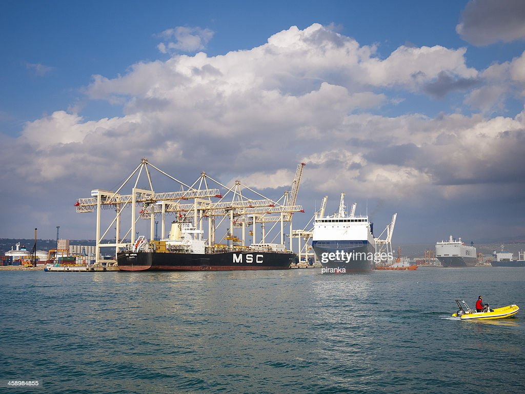 Container ships in the port of Koper, Slovenia : Stock Photo