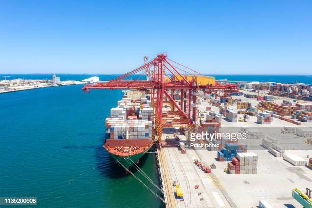 container terminal and heavy cranes on inner harbor in fremantle, in perth, western australia, australia. - harbour stock pictures, royalty-free photos & images