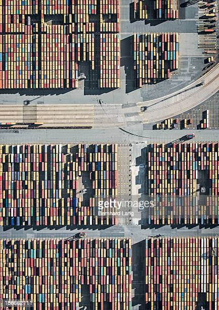 Container Terminal and rails, aerial view