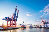 Container terminal in Hamburg harbour.