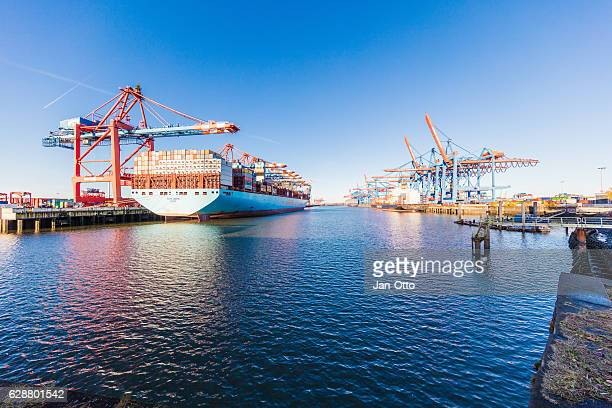 container terminal in hamburg harbour. - maersk stock pictures, royalty-free photos & images