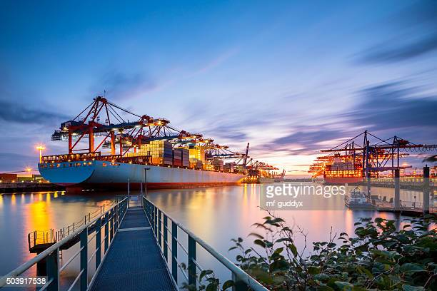 container terminal - hamburg germany stock pictures, royalty-free photos & images