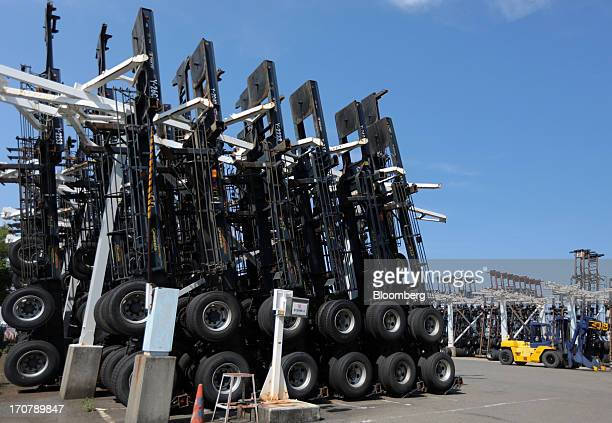 Container trailer chassis are lined up at a lot near a shipping terminal in Yokohama City Kanagawa Prefecture Japan on Monday June 17 2013 Japan has...