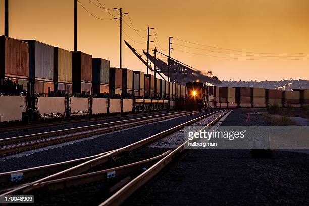 container trains - long beach california stock photos and pictures