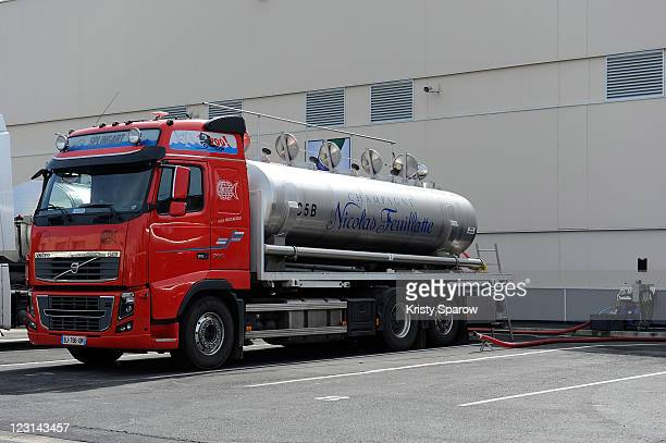 A container truck is parked at the Nicolas Feuillatte champagne processing facility on August 31 2011 in Epernay France