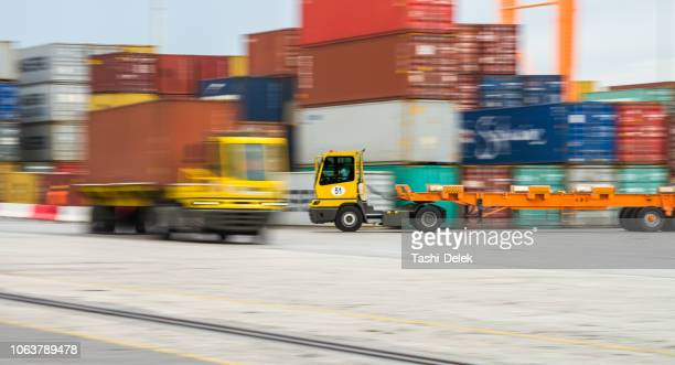 container truck - koper stock photos and pictures