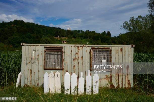 A container used to host the UN Dutchbat peace mission is now in used by a local vendor on July 13 2017 in Potocari Bosnia and Herzegovina During the...