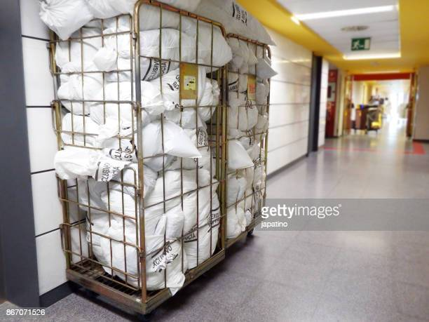 Container with garbage bag in a hospital