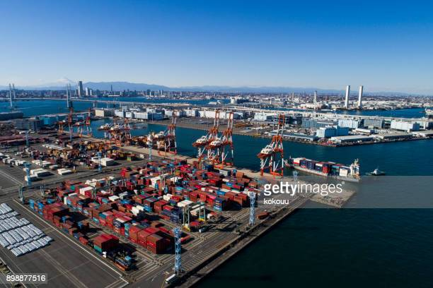 container,container ship in import export and business logistic. - rotterdam stock pictures, royalty-free photos & images