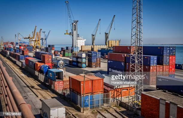 Containers and a moored ship are seen at TSA Santa Apolonia multipurpose container terminal on October 10 2019 in Lisbon Portugal Lisbon harbor is...