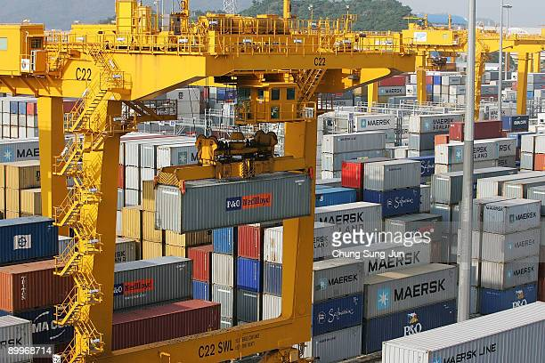 Containers are seen at Pusan Newport on August 20 2009 in Pusan South Korea Due to its weak currency and a predicted rise in global demand South...