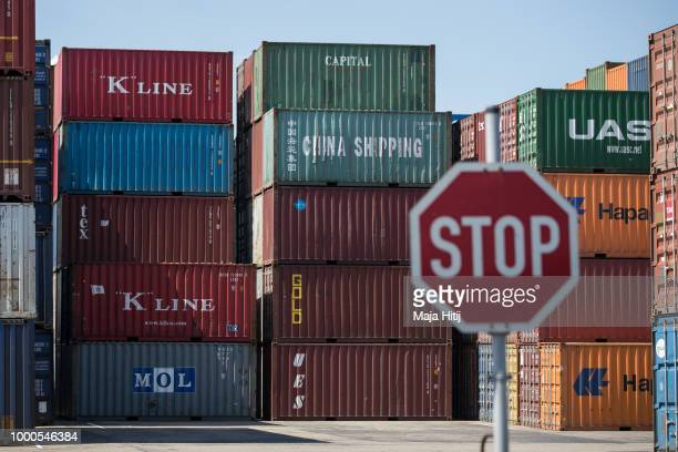 Containers are seen at terminal in the Duisburg port on July 16 2018 in Duisburg Germany Approximately 25 trains a week use the 'Silk Road'...