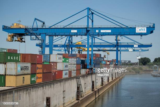 Containers are seen at terminals in the Duisburg port on July 16 2018 in Duisburg Germany Approximately 25 trains a week use the 'Silk Road'...