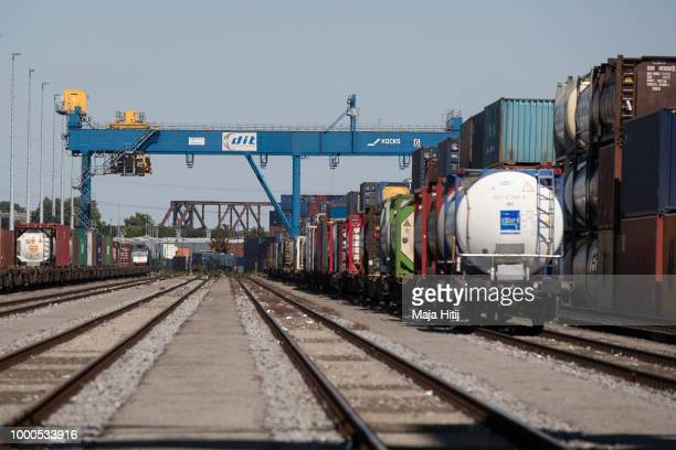 Containers are seen at train station in the Duisburg port on July 16 2018 in Duisburg Germany Approximately 25 trains a week use the 'Silk Road'...