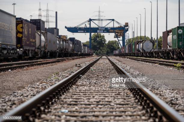 Containers are seen at train station in the Duisburg port on July 16 2018 in Duisburg Germany Approximately 25 trains a week use the Silk Road...