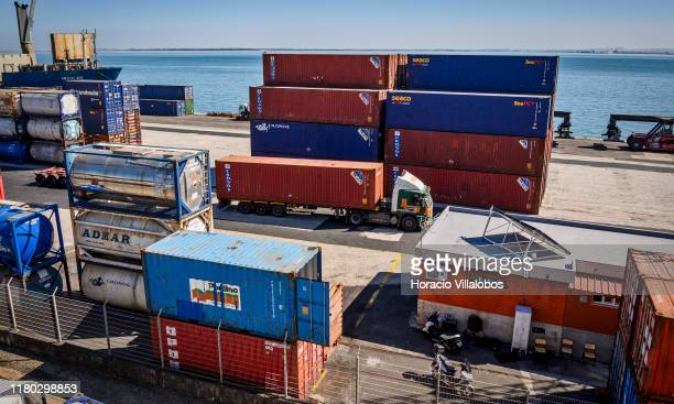 Containers are seen at TSA Santa Apolonia multipurpose container terminal on October 10 2019 in Lisbon Portugal Lisbon harbor is one of the largest...
