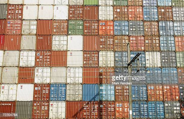 Containers are seen stored up at the Antwerp port on October 17, 2006 in Antwerp, Belgium. The port is the 4th largest in the world, and handled over...