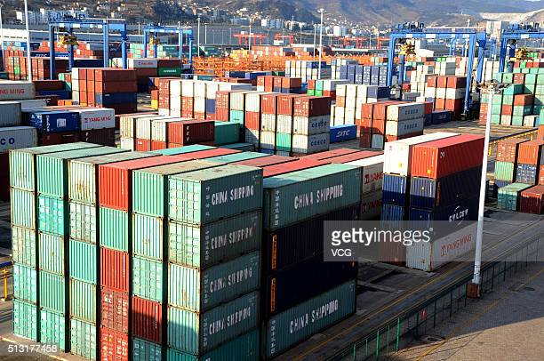 Containers are stacked at a port on March 1 2016 in Lianyungang Jiangsu Province of China The manufacturing sector in China continued to contract in...