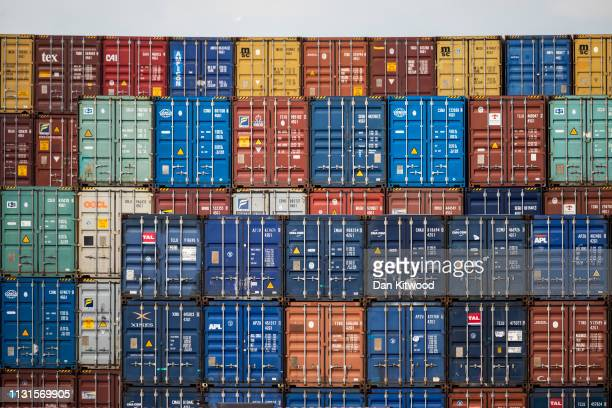 Containers are stacked at the Port of Felixstowe Ltd a subsidiary of CK Hutchison Holdings Ltd on March 19 2019 in Felixstowe England The deep water...